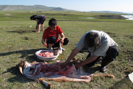 Butchering the goat. (Photo by Robert Peck)